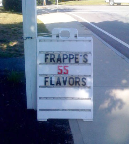 Frappe's 55 flavors
